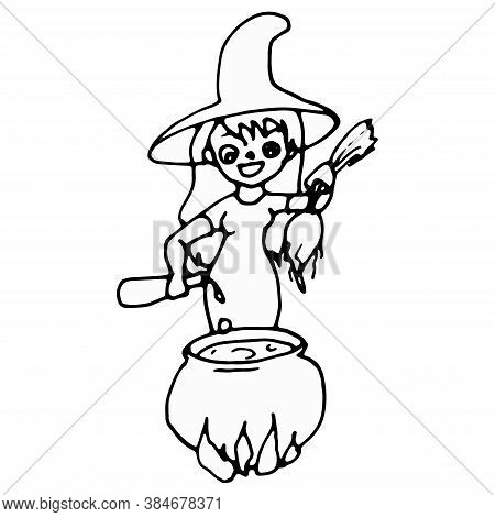 Witch Brews Potion In Cauldron. Silhouette Of The Old Scary Witch With Magic Cauldron