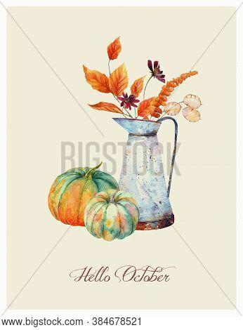 Watercolor Fall Floral Bouquet In Vintage Rusty Pitcher, Orange Pumpkins. Thanksgiving Decor, Autumn