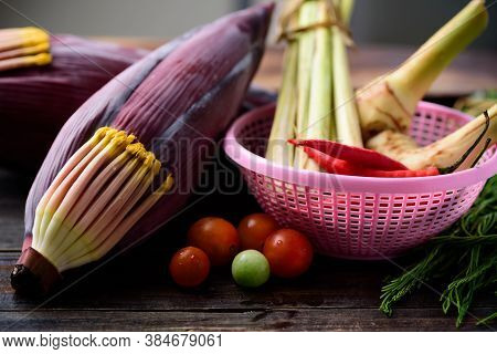 Banana Flower And Vegetables For Cooking, Edible Plant In Southeast Asian Cuisine Used For Curry Or