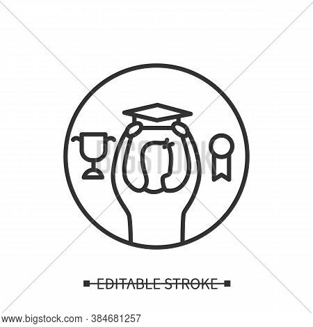Graduation Icon. Man With University Hat And Sports Prize Linear Pictogram. Concept Of Getting Good