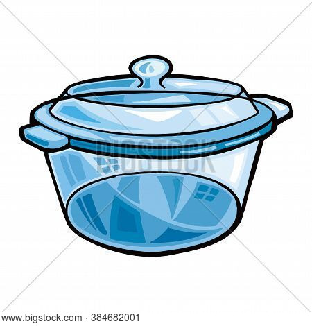 Blue Enamel Saucepan With Lid, Isolated On White Background