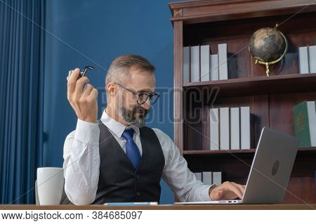 Smiling Business Vintage, White Gentleman, Caucasian Person Working From Home On Table With Computer