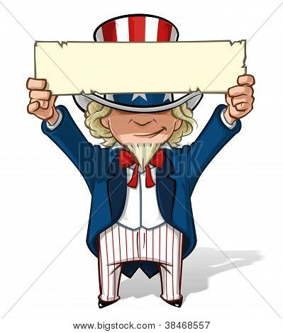 Uncle Sam Holding Up a Sight
