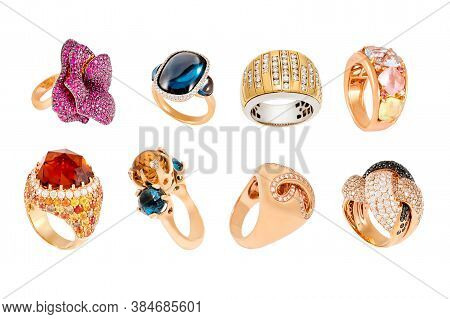 Golden Diamond Rings Isolated On White Background. Different Rings With Diamonds And Precious Color