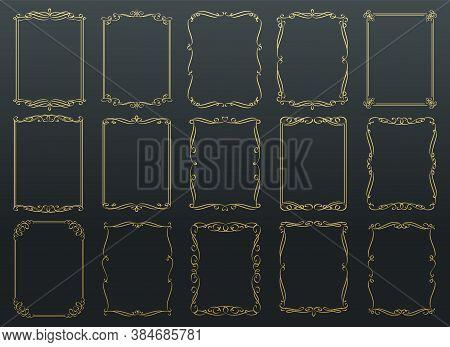 Vintage Calligraphic Golden Vector Frames. Wedding Ornamental Rectangular Set Frame, Flourishes Orna