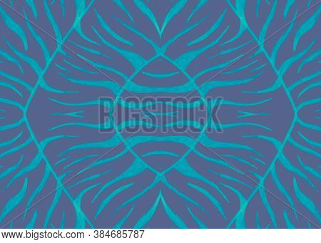 Seamless Animal Print. Watercolor African Background. Zebra Fur. Gray Abstract Repeat. Blue Jungle B