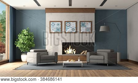 Modern Living Room With Fireplace And Two Gray Armchair - 3d Rendering