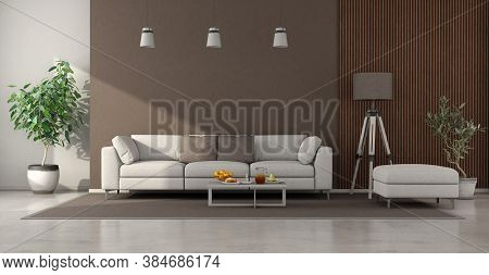 Minimalist Living Room With White Sofa ,brown Wall And Wooden Panel - 3d Rendering