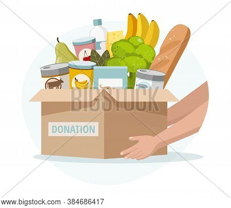 Food And Grocery Donation Concept. Charity, Food Donation For Needy And Poor People. Vector Illustra