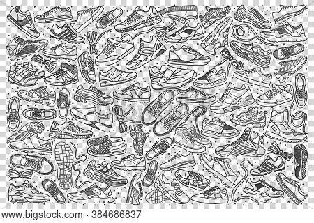 Sneakers Doodle Set. Collection Of Hand Drawn Sketches Templates Patterns Of Male Female Footwear Tr