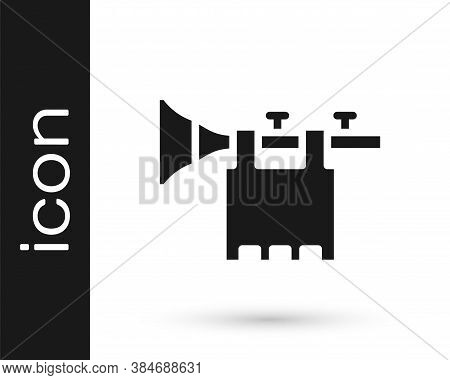 Black Trumpet With Flag Icon Isolated On White Background. Musical Instrument Trumpet. Vector