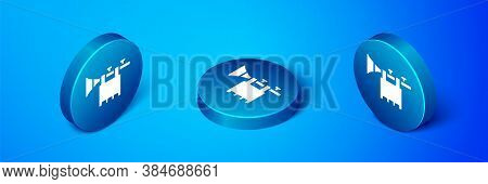 Isometric Trumpet With Flag Icon Isolated On Blue Background. Musical Instrument Trumpet. Blue Circl