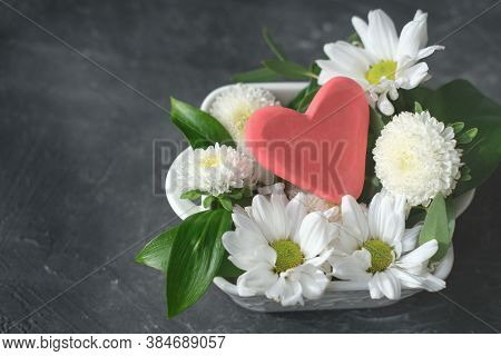 White Flowers And Red Heart In A Vase, Health Care, Love And Support, Organ Donation, Family Insuran