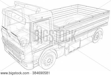 Flatbed Truck. Vector Illustration Of Flatbed Truck. The Layers Of Visible And Invisible Lines Are S