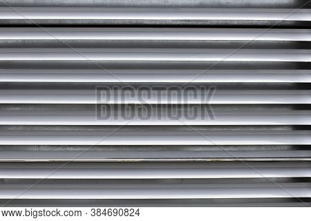 Steel Industrial Horizontal Blinds As Texture, Close-up.