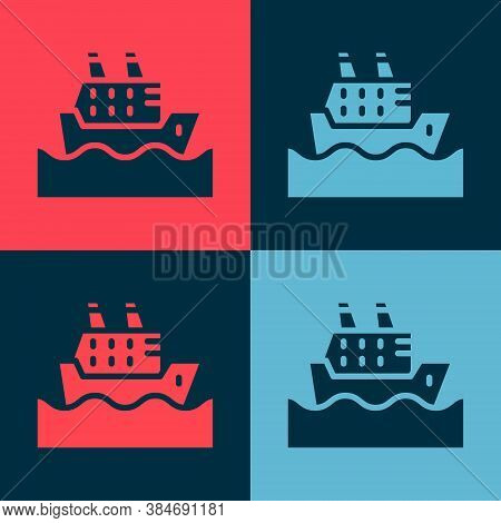 Pop Art Cruise Ship In Ocean Icon Isolated On Color Background. Cruising The World. Vector