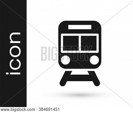 Black Train And Railway Icon Isolated On White Background. Public Transportation Symbol. Subway Trai