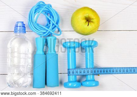Gym Tools, Top View. Sports Equipment In Cyan Blue