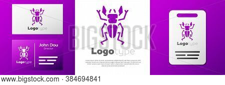 Logotype Beetle Deer Icon Isolated On White Background. Horned Beetle. Big Insect. Logo Design Templ