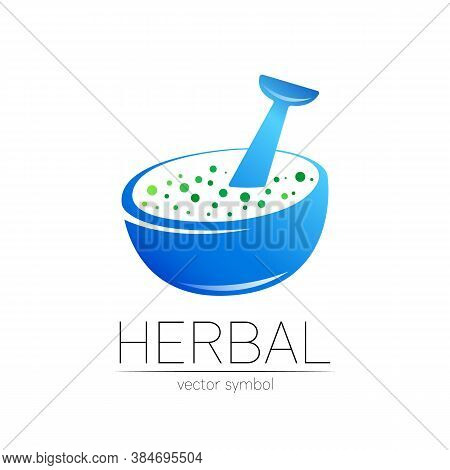 Vector Mortar And Pestle Blue Symbol Logo. Herbal Icon Concept For Medicine, Vegetarian, Therapy, Ph