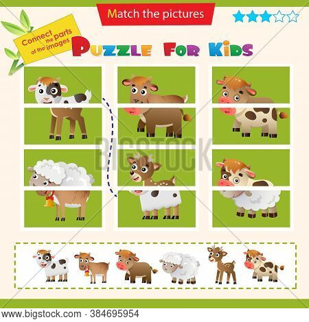 Matching Game For Children. Puzzle For Kids. Baby Animals. Little Calf, Lamb, Fawn, Kid.