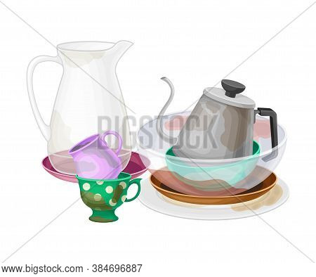 Pile Of Dirty Dishes And Utensils With Tea Kettle And Glass Jug Vector Illustration.