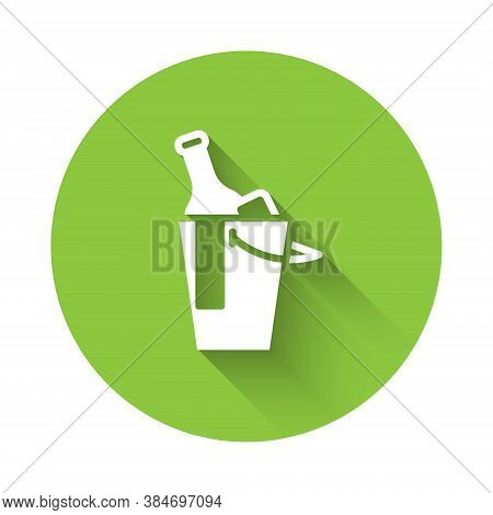 White Bottle Of Wine In An Ice Bucket Icon Isolated With Long Shadow. Green Circle Button. Vector