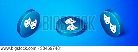 Isometric Comedy And Tragedy Theatrical Masks Icon Isolated On Blue Background. Blue Circle Button.