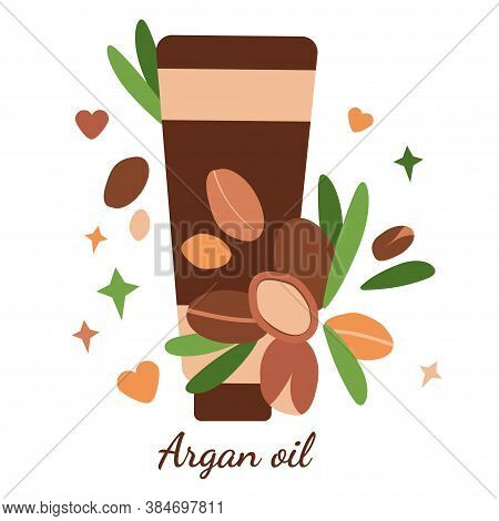 Illustration With Tube Of Argan Oil. Argan Berries With Leaves. Modern Abstract Design For Backgroun