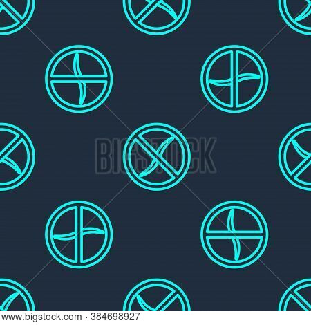 Green Line Anti Worms Parasite Icon Isolated Seamless Pattern On Blue Background. Vector