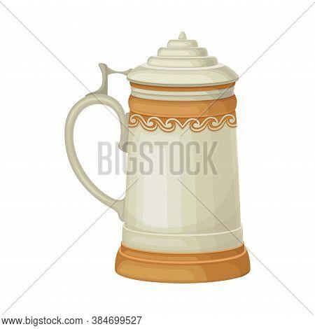 Oktoberfest Mug Or German Stein With Lid Vector Illustration