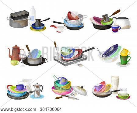 Piles Of Dirty Dishes And Utensils With Plates And Cups Vector Set