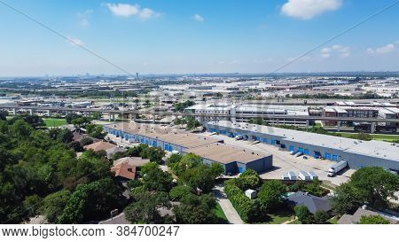 Aerial View Logistic Center Industry Warehouse Near Historic Downtown Carrollton Square, Texas