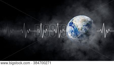 Ecology And Healthcare Concept : Blue Planet Earth With White Pulse Line And Smoke In Black Backgrou