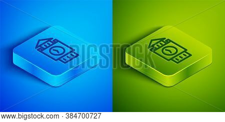 Isometric Line Big Ben Tower Icon Isolated On Blue And Green Background. Symbol Of London And United