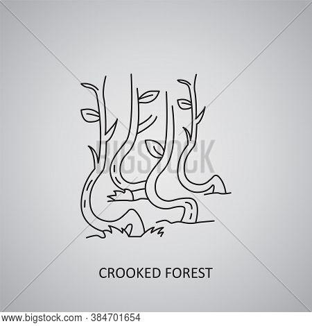Crooked Forest Icon On Grey Background. Poland, Nowe Czarnowo. Line Icon