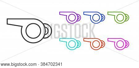 Black Line Whistle Icon Isolated On White Background. Referee Symbol. Fitness And Sport Sign. Set Ic