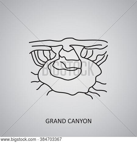 Grand Canyon Icon On Grey Background. Usa, Arizona. Line Icon