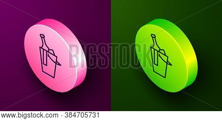 Isometric Line Bottle Of Wine In An Ice Bucket Icon Isolated On Purple And Green Background. Circle