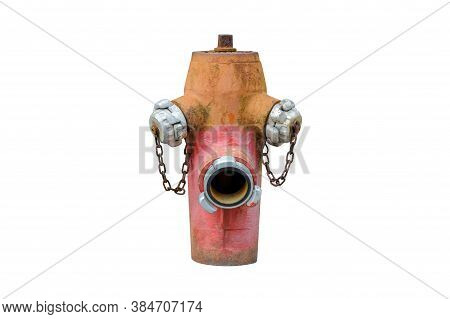 Red And Yellow Fire Hydrant Isolated On White Background