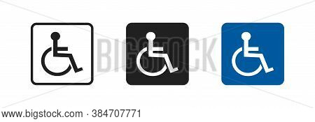Disabled Set Vector Icon In Flat Style. Handicap Line Symbol. Disable Blue Logo