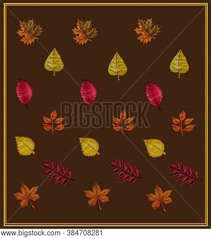 Set Of Autumn Leaves. Autumn. Orange And Yellow Leaves. Maple, Monstera, Birch, Rowan, Aspen. Isolat