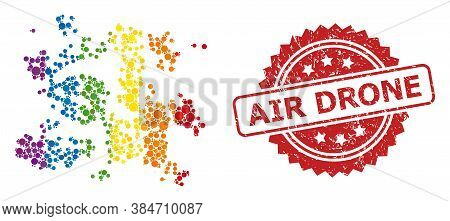 Particle Swarm Collage Icon Of Circle Items In Various Sizes And Lgbt Colored Color Tints, And Air D