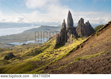 The Old Man Of Storr - Famous Rocky Formation In Trotternish Landslip, Isle Of Skye, Scotland. Sceni