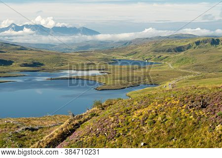 Scenic View Of Loch Leathan And Loch Fada Seen From The Main Walking Path To The Old Man Of Storr On