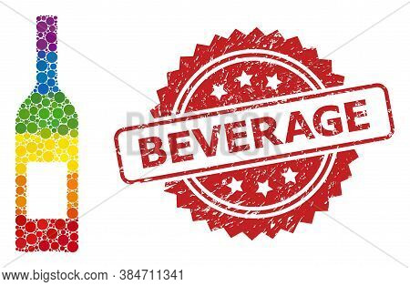 Wine Bottle Mosaic Icon Of Circle Dots In Variable Sizes And Lgbt Colorful Color Tinges, And Beverag