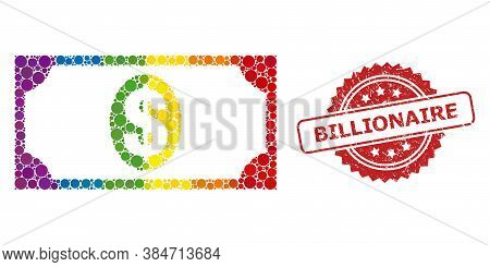 Usd Banknote Mosaic Icon Of Round Dots In Different Sizes And Lgbt Multicolored Color Tones, And Bil