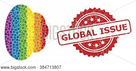 Cloud Mosaic Icon Of Circle Blots In Different Sizes And Lgbt Multicolored Color Tints, And Global I