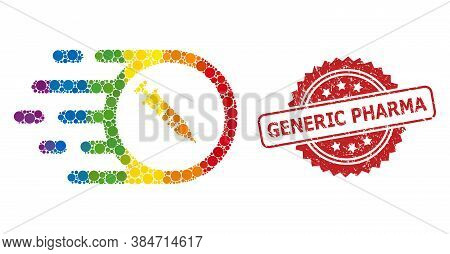 Rush Vaccine Collage Icon Of Spheric Dots In Different Sizes And Lgbt Color Hues, And Generic Pharma