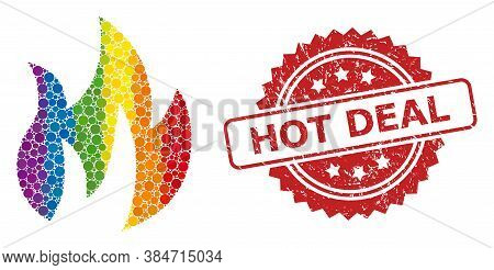 Fire Mosaic Icon Of Filled Circle Items In Different Sizes And Lgbt Colorful Color Tints, And Hot De